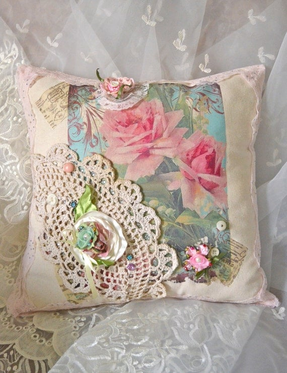 French Shabby Chic Pillows : French Shabby Chic Pink Rose Pillow