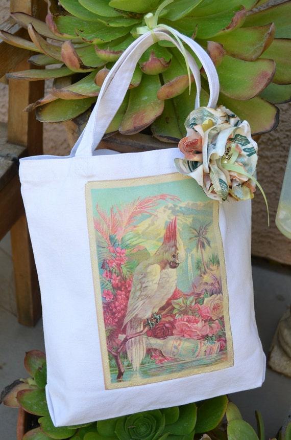 Tropical Cockatoo Retro Canvas With Flower