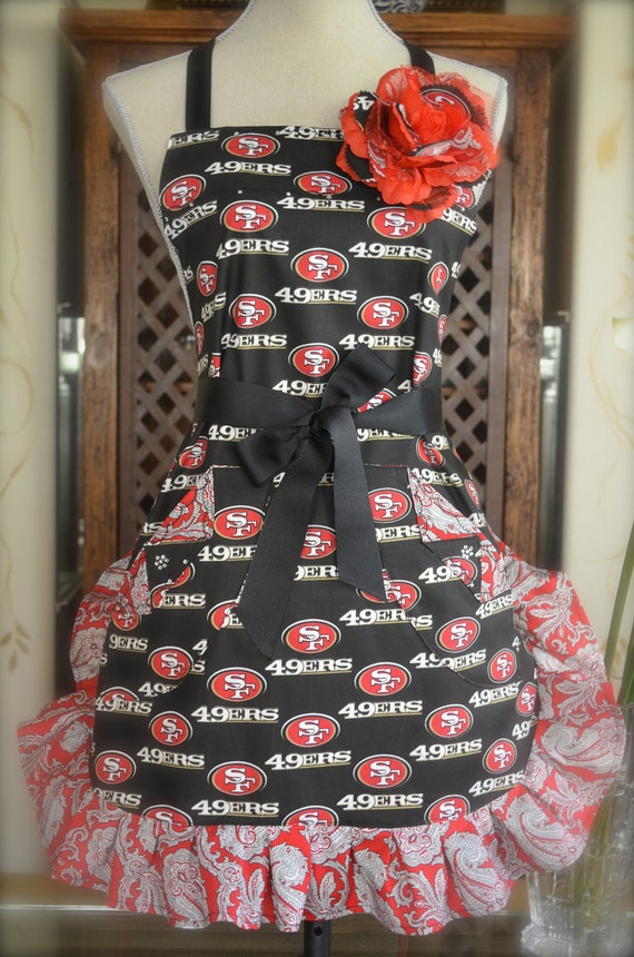 Reserved for Jena W - 49'ers NFL Inspired Ruffled Apron With Rhinestones and Rose Pin