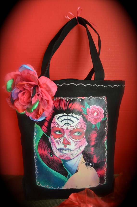 Pretty Lady Sugar Skull Black Tote Bag