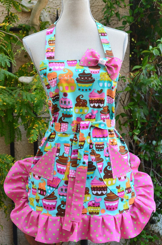 Womens Apron Bake Us Some Cupcakes Print  With Polka Dot Ruffle And Rhinestones