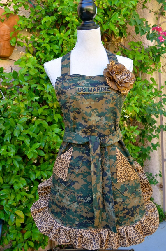 Camoflage Print Womens Full Apron - Military Inspired With Contrasting Leopard Ruffle and Pockets