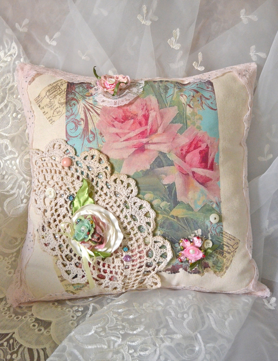 french shabby chic pink rose pillow. Black Bedroom Furniture Sets. Home Design Ideas