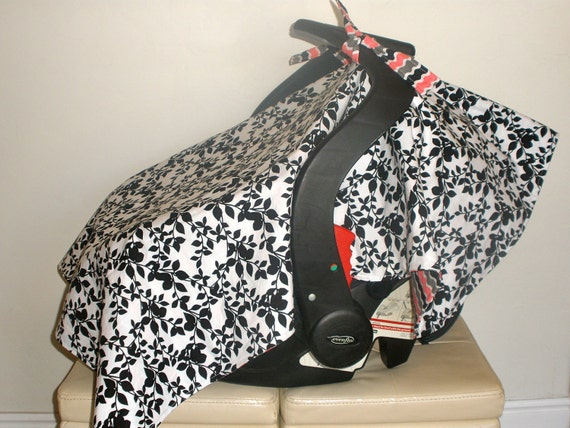 Baby Car Seat Cover/Canopy - Black & White