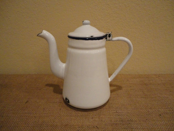 Vintage White Enamel Coffee Pot, Shabby Chic, Paris Apt, Industrial Loft