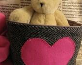 Pink Heart, repurposed wool, basket with drawstring bag