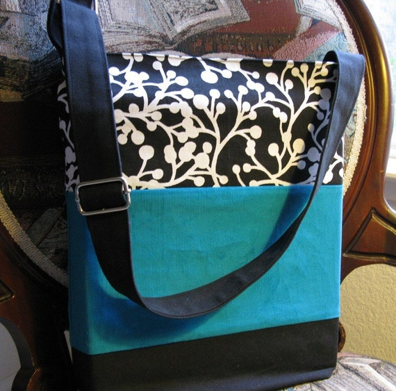 Cotton Tote, Jade Green, Black and White, adjustable strap
