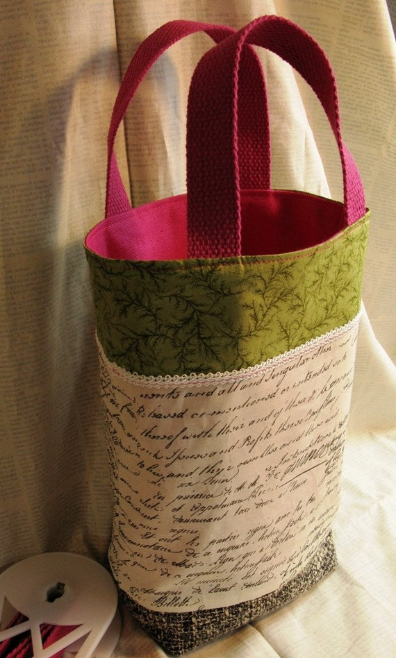 Cotton Tote Bag, French and Ferns, Pink and Green