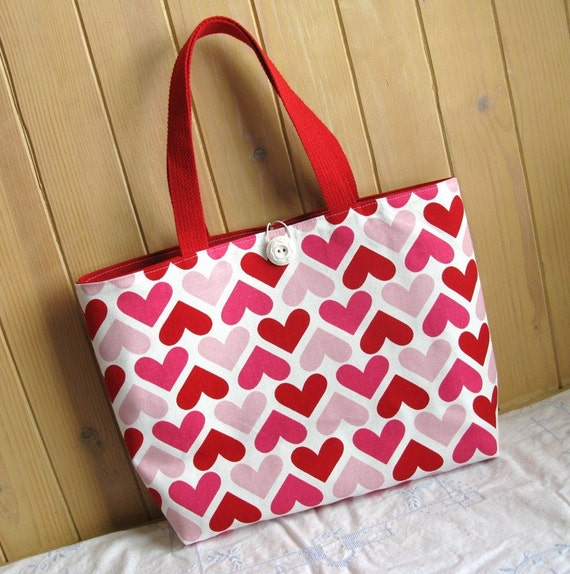 Cotton Tote Bag, Hearts, Pink, Red and White