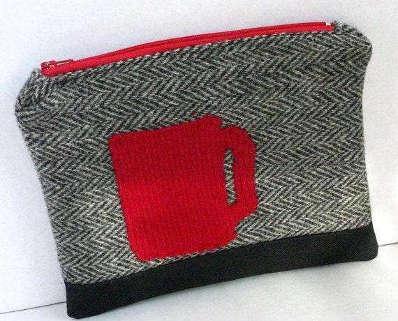 Zip Pouch, Red Coffee Cup, Upcycled Wool, Repurposed Suit, Herringbone