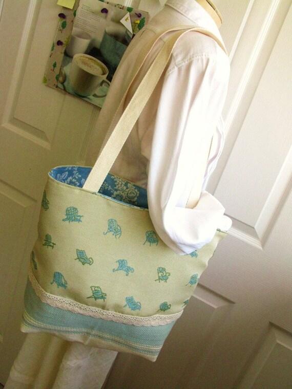 Tote Bag, Summertime, Beach Chair motif