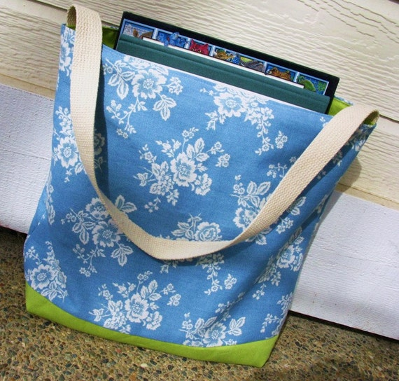Cotton Tote, Book Bag, Blue and Green, Reversible Tote