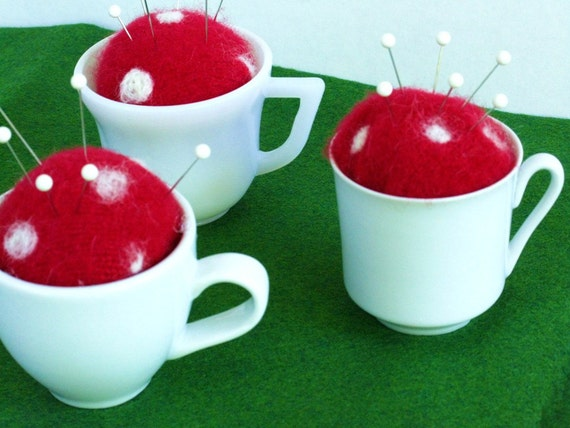 Pincushion, Tea Cup Pincushion, Toadstool Pincushion, Set of Three