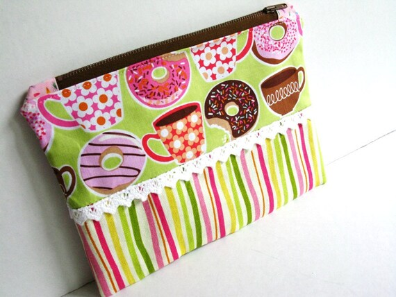 Zip Pouch, Donuts and Coffee, Pink and Green