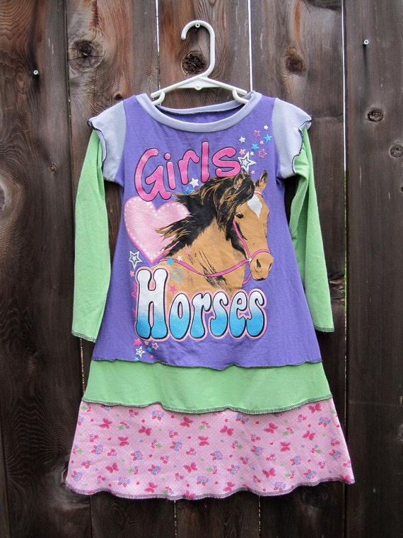 Horses, Hearts and Butterflies, OH MY Long Sleeved Upcycled Dress Size 3/4