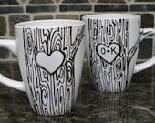 Custom Heart on Tree Mug with Initials love Hand painted