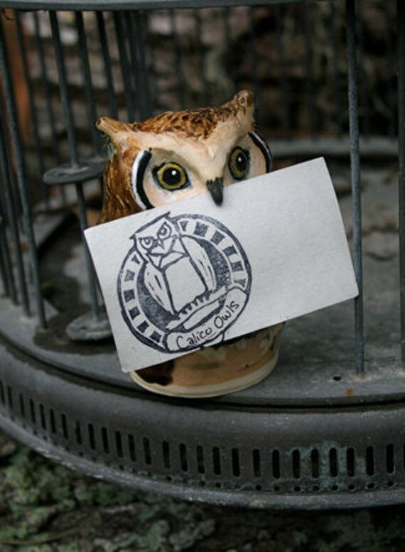 Kingsley the Great Horned Post Clay Owl Business Card Holder