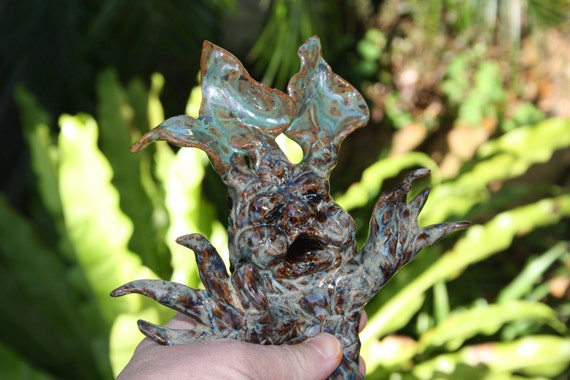 Mandrake screaming out of plant large spike Harry Potter inspired Pottery