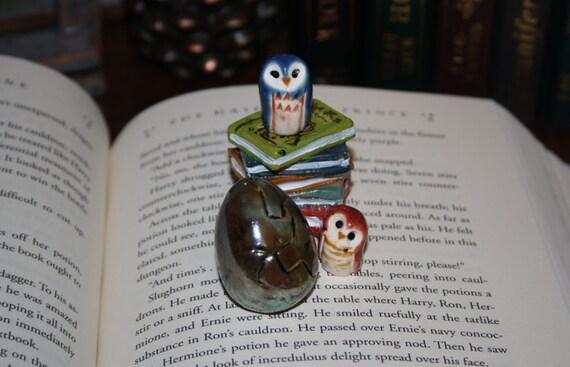 Harry Potter's Dragon Egg: Hogwart's inspired handmade Raku Pottery  metallic blue green cooper purple