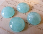 8 Vintage Sea Glass Green Marbleized Cabochons 15MM