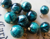 Vintage Hunter Green Beads with PinHeads 10MM