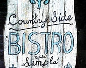 BISTRO SIGN - (( BLUE MOON SPECIAL )) - EATERY / FRENCH PLAQUE ART - PATIO/GARDEN PLAQUE - UNIQUE, PRIMITIVE, FRENCH COUNTRY STYLE - Made from RESCUED CEDAR, WHITEWASHED BOARDS - 4 ur HOME, BACKBAR DECOR, GARDEN, PATIO...