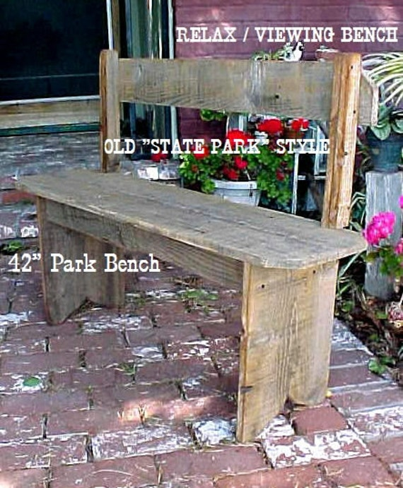 PARK BENCH, Country Primitive, On SALE, Porch Bench, 42'' Seat Bench, Mud Room Bench, Outdoor Furniture, Pool Side Bench, Patio Bench!