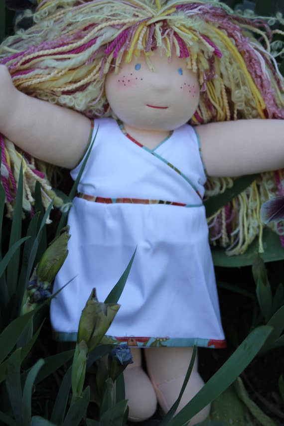 Cross-over dress with flower piping - fits 14 inch Waldof doll