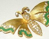 1961 Vintage Ledo Rhinestone Faux Jade Butterfly Brooch