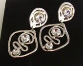 HUGE Vintage Dangle Rhinestone Clip On Earrings