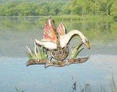 Vintage Swan Bird Brooch with Hand Painted Enamel and Marcasite
