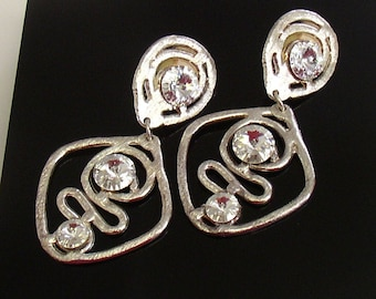 HUGE Vintage Dangle Rhinestone Clip On Earrings