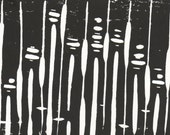 Tornado Disaster Relief - 50% Donation - Contemporary Black and White Block Print - 005