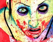 HALF OFF CLEARANCE Zombie Girl Horror Splatter Portrait Signed Art Print By Carissa Rose 5x7, 8x10, or 11x14
