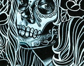 40 Percent OFF Bella Morte Signed Art Print By Carissa Rose 5x7, 8x10, or 11x14 Black and White Day of the Dead Sugar Skull Girl