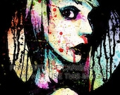 Punk Emo Goth Edgy Rainbow Splatter Portrait Signed Art Print - Nervous Breakdown by Carissa Rose 5x7, 8x10, 11x14