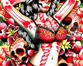 Hand Signed Day of the Dead and Tattoo Inspired Pin Up Girl Portrait Art Print - Femme Fatale By Carissa Rose 5x7, 8x10, or Apprx 11x14