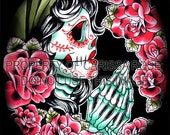 Tattoo Art Sugar Skull Gypsy Girl - Dia de los Muertos praying Art Print by Carissa Rose Signed 5x7, 8x10, or 11x14