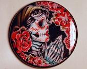 Pocket Mirror Dia De Los Muertos Praying Sugar Skull Tattoo Flash Inspired 2.25 inch