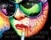 40 PERCENT OFF Pop Art Signed Print Poster Punk Rock PopArt Horror Splatter Portrait - At A Glance - Girl Smoking Cigarette Rainbow 5x7, 8x1