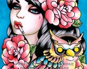 Owl Tattoo Flash Portrait Traditional Style Tattoo Art Print Signed Taken For Granted Art Print By Carissa Rose 5x7, 8x10, or 11x14