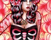 RESERVED for Kimberly Ross - Limited Edition Wink Cover Pin up Art Print by Carissa Rose 10.5 x 13.75 inches Hand Signed numbered 8 of 50