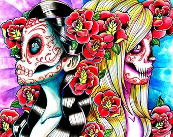 Another Time and Place Day of the Dead Sugar Skull Girls and Tattoo Flash Roses Painting Signed Art Print - 5x7, 8x10, or Apprx 11x14