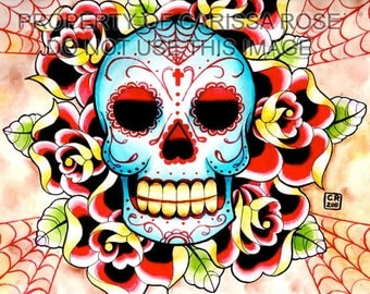 Old School Sugar Skull Flash Inspired Painting Signed Art Print by Carissa Rose 5x7, 8x10, or 11x14 - Tattoo Art Print Day of the Dead