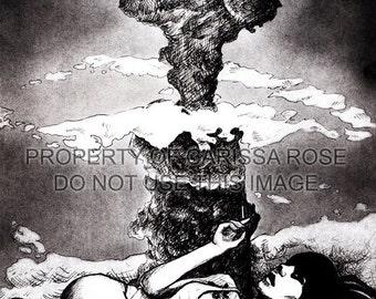 Signed Art Print Atomic Garden Original Artist Print by Carissa Rose 5x7 or 8x10 Atomic Apocalypse Pin Up Girl