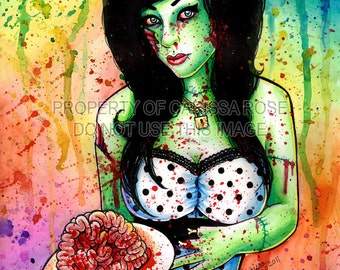 Undead Pin Up Girl Rainbow Horror Portrait with Brains Art Print - Zombie Doll 7 by Carissa Rose 5x7, 8x10, or 11x14