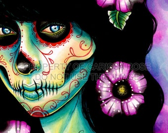 Signed Tattoo Art Print - Absolution 5x7, 8x10, or 11x14 - Day of the Dead Dia De Los Muertos Pretty Edgy Home Decor Lowbrow Dark Art