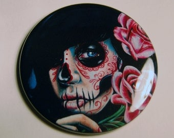 Pocket Mirror Evening Bloom Day of the Dead Sugar Skull Girl 2.25 inch