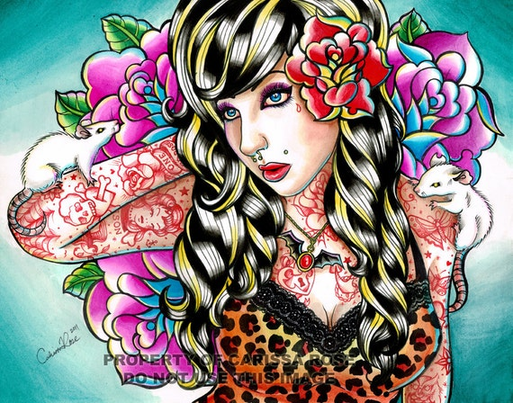 Pinup girl old school tattoos watercolor painting art print for Old school pin up tattoos