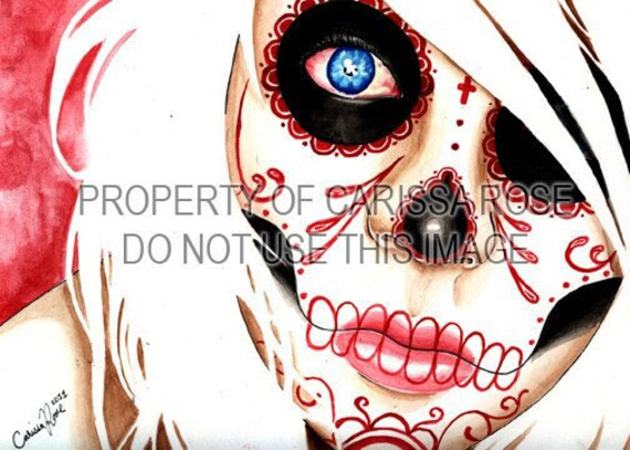 Day of the Dead Signed Fine Art Print - 5x7, 8x10, or 11x14 in Art Print - Nightmares - Sugar Skull Girl Tattoo Flash Art Modern Decor